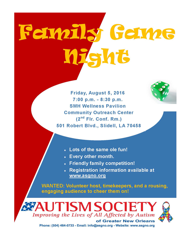 2016-08-05 Family Game Night Flyer
