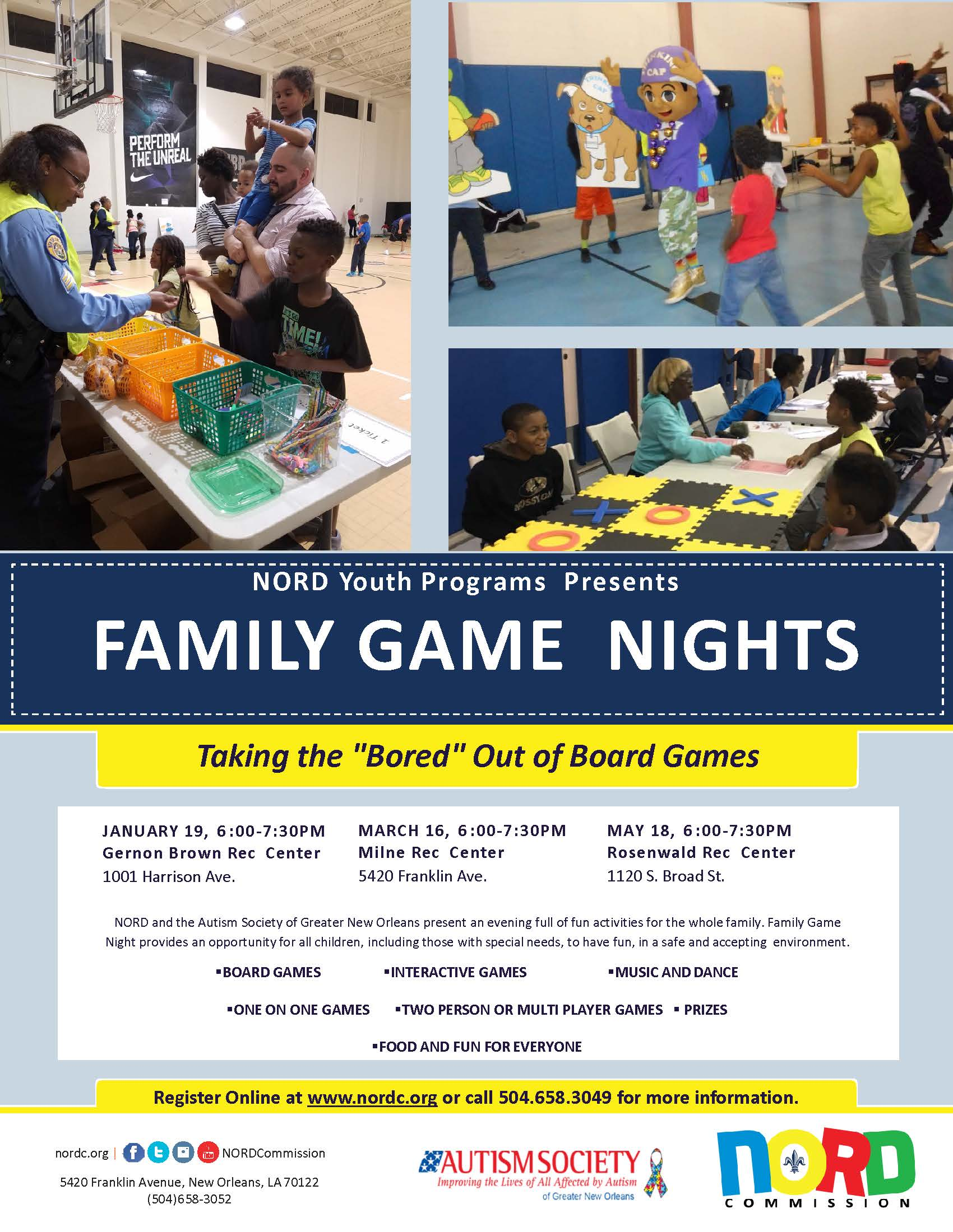 NORDC And The Autism Society Of Greater New Orleans Present An Evening Full Fun Activities For Whole Family Game Night Provides